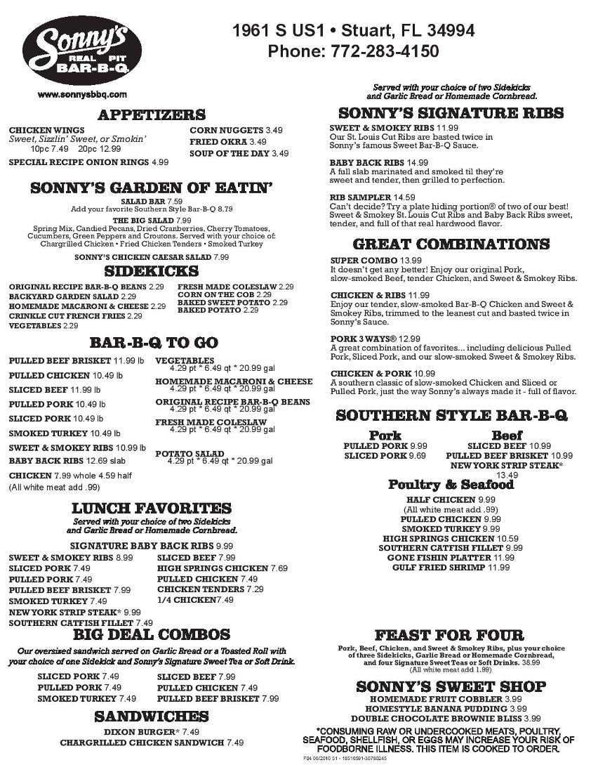 menu at sonny u0027s bbq 1961 s us highway 1 restaurant prices