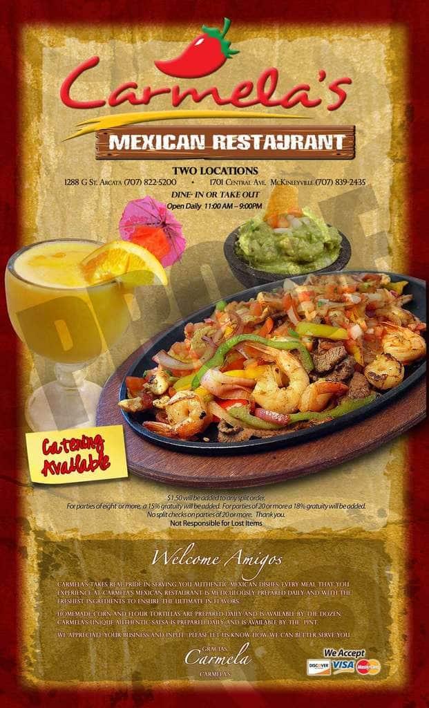 Carmela S Mexican Restaurant Menu Urbanspoon Zomato