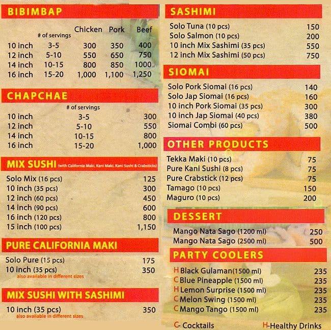 Ninja Restaurant Menu Prices
