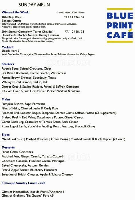 Menu at blueprint caf london the restaurant information including the blueprint caf menu items and prices may have been modified since the last website update malvernweather Gallery