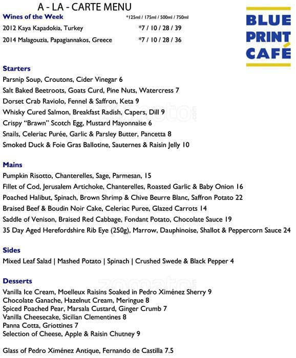 Menu at blueprint caf restaurant london blueprint caf menu malvernweather Gallery
