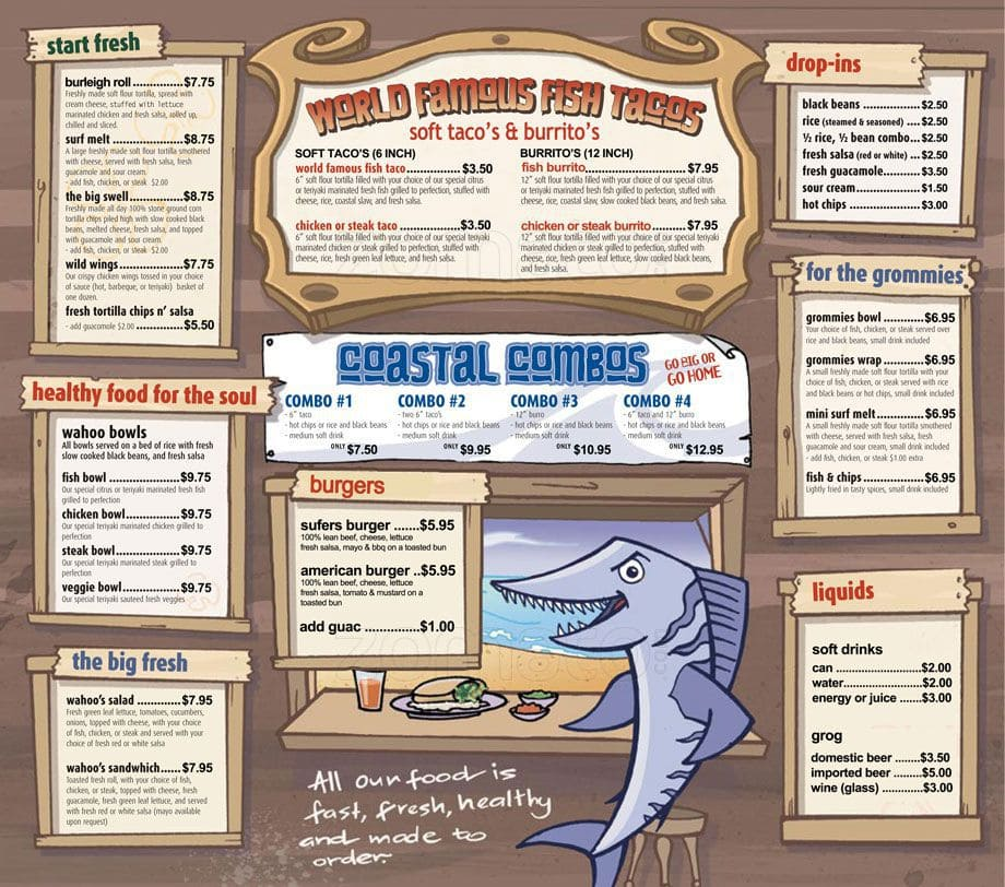 Wahoo 39 S Fish Taco Burleigh He Menu Middot Scanned For 039. Wahoo Fish Taco Menu Gluten Free   About Types of Fish
