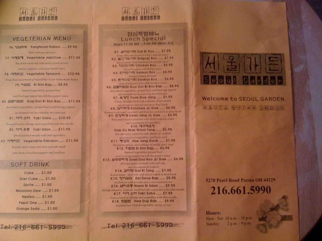 Menu at Seoul Garden restaurant, Parma