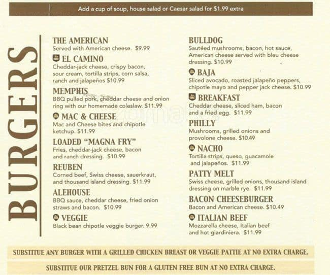 Scanned Menu For Bulldog Ale House