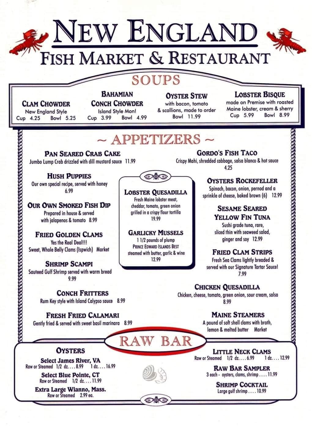 New england fish market restaurant menu urbanspoon zomato for Fish 101 menu