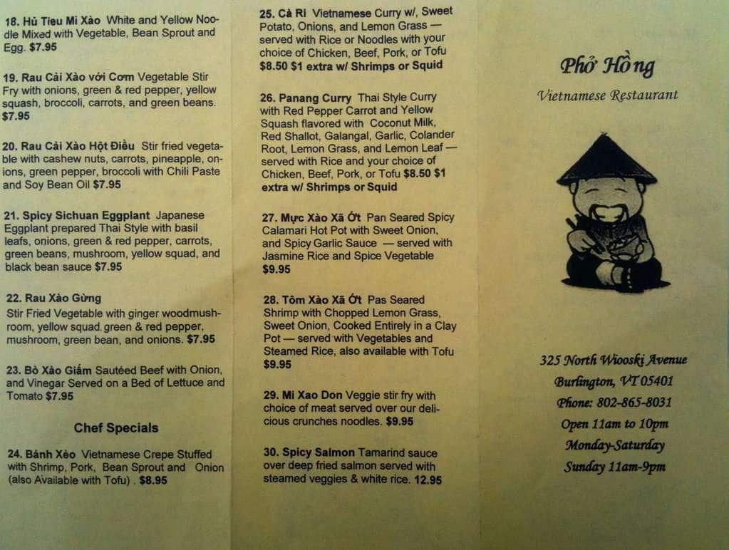 Pho Hung Restaurant Menu
