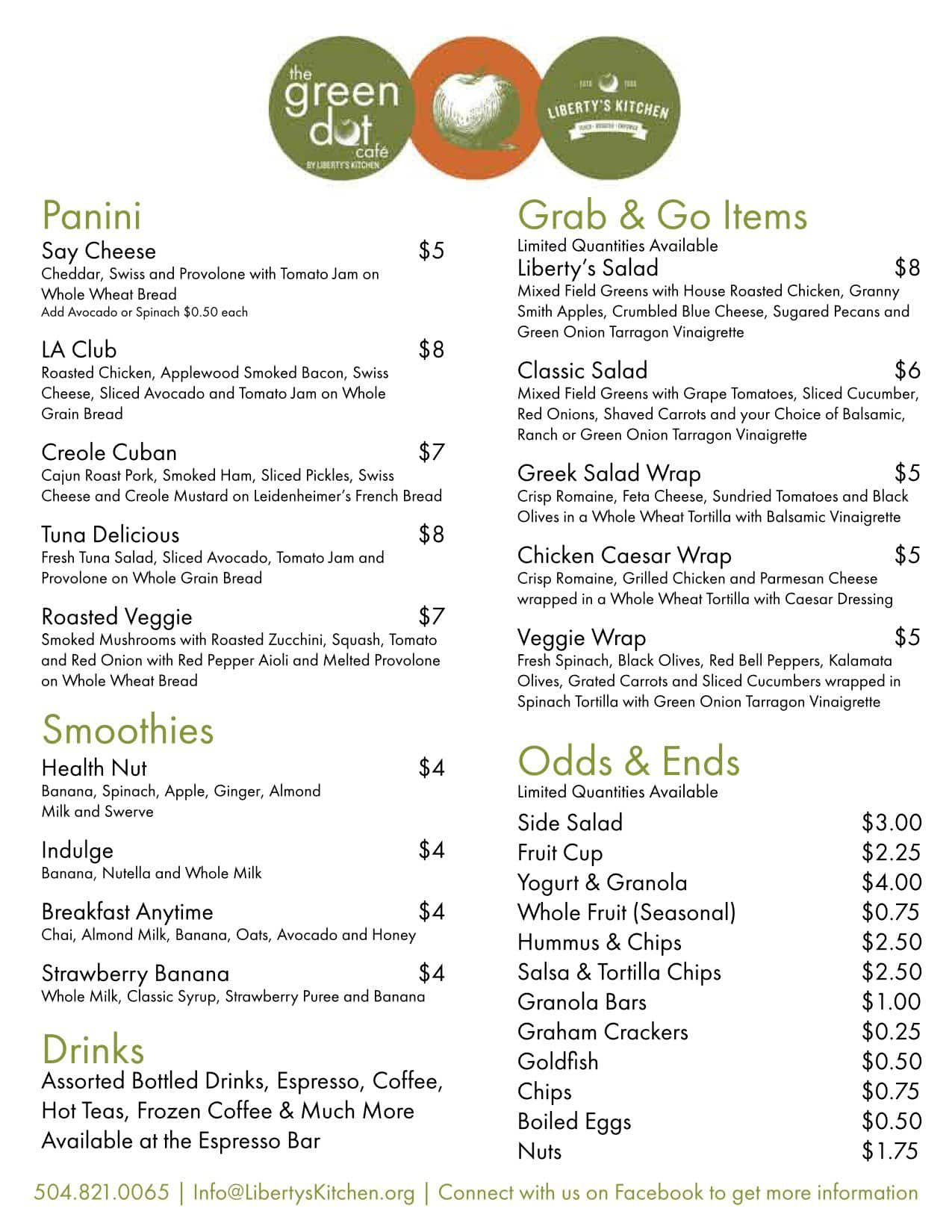 the green dot cafe menu menu for the green dot cafe mid city