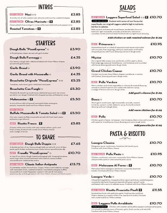 Pizza Express Menu Menu For Pizza Express Kingston Upon