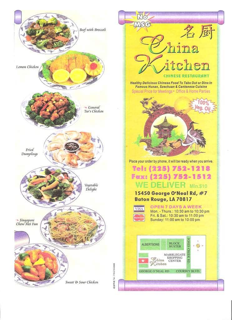 China Kitchen Hickory Ridge Menu