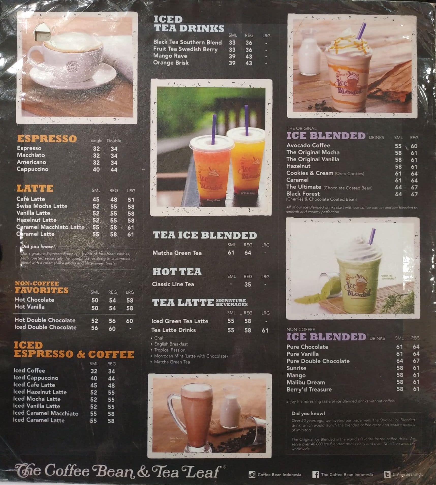 The Coffee Bean Tea Leaf Menu