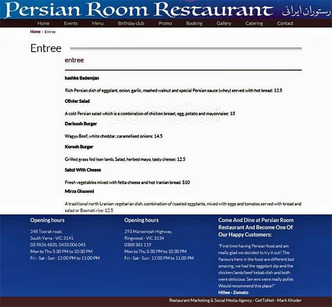 Persian Room Menu Ringwood