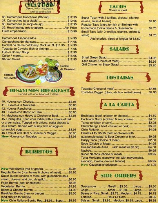 Cazuelas Grill Food Truck Menu