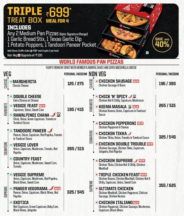 Pizza Hut Menu Menu For Pizza Hut Tajganj Agra Zomato