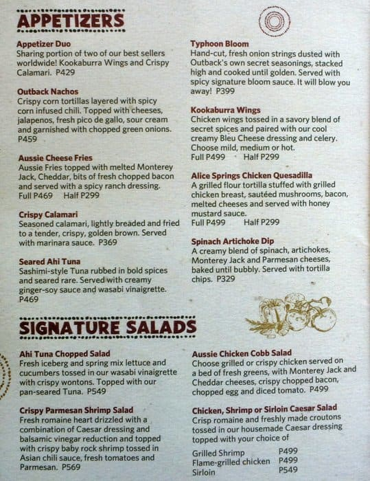 graphic relating to Outback Printable Menu titled The out back again cafe : Snappy nails broomfield