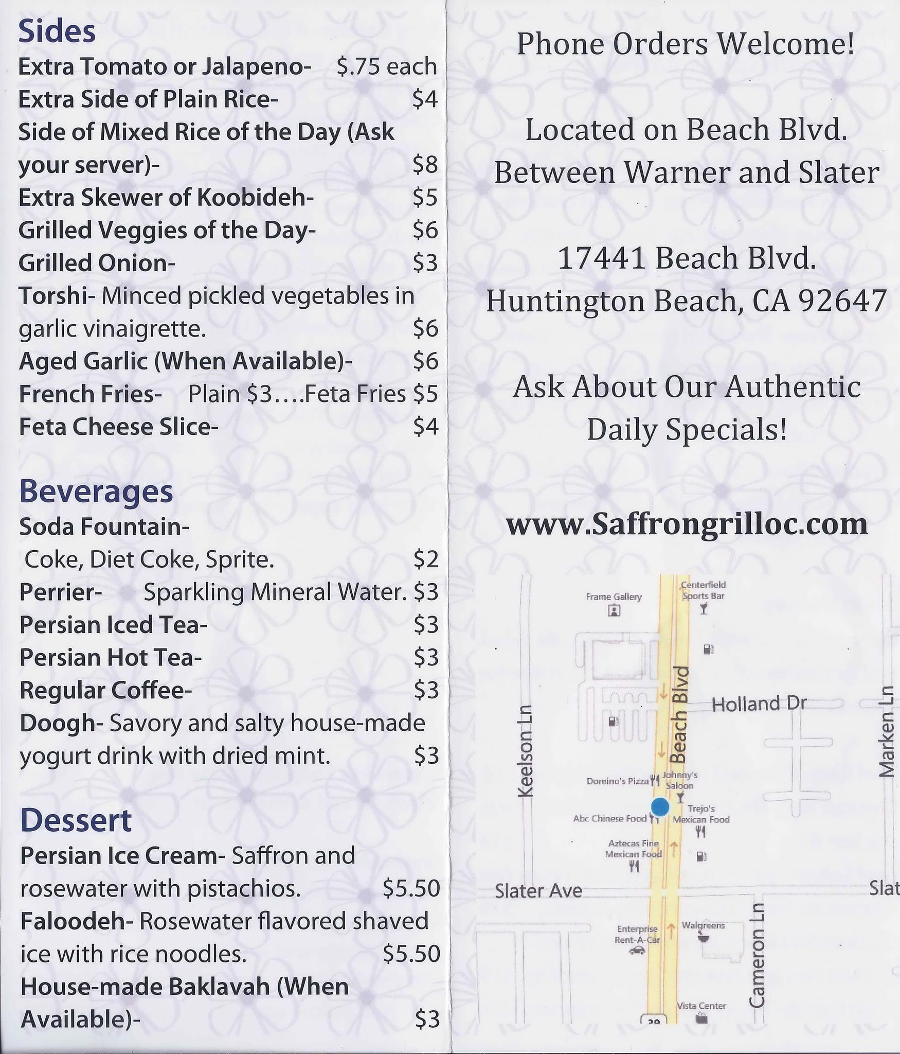 Saffron Grill Menu, Menu for Saffron Grill, Huntington Beach, Orange ...