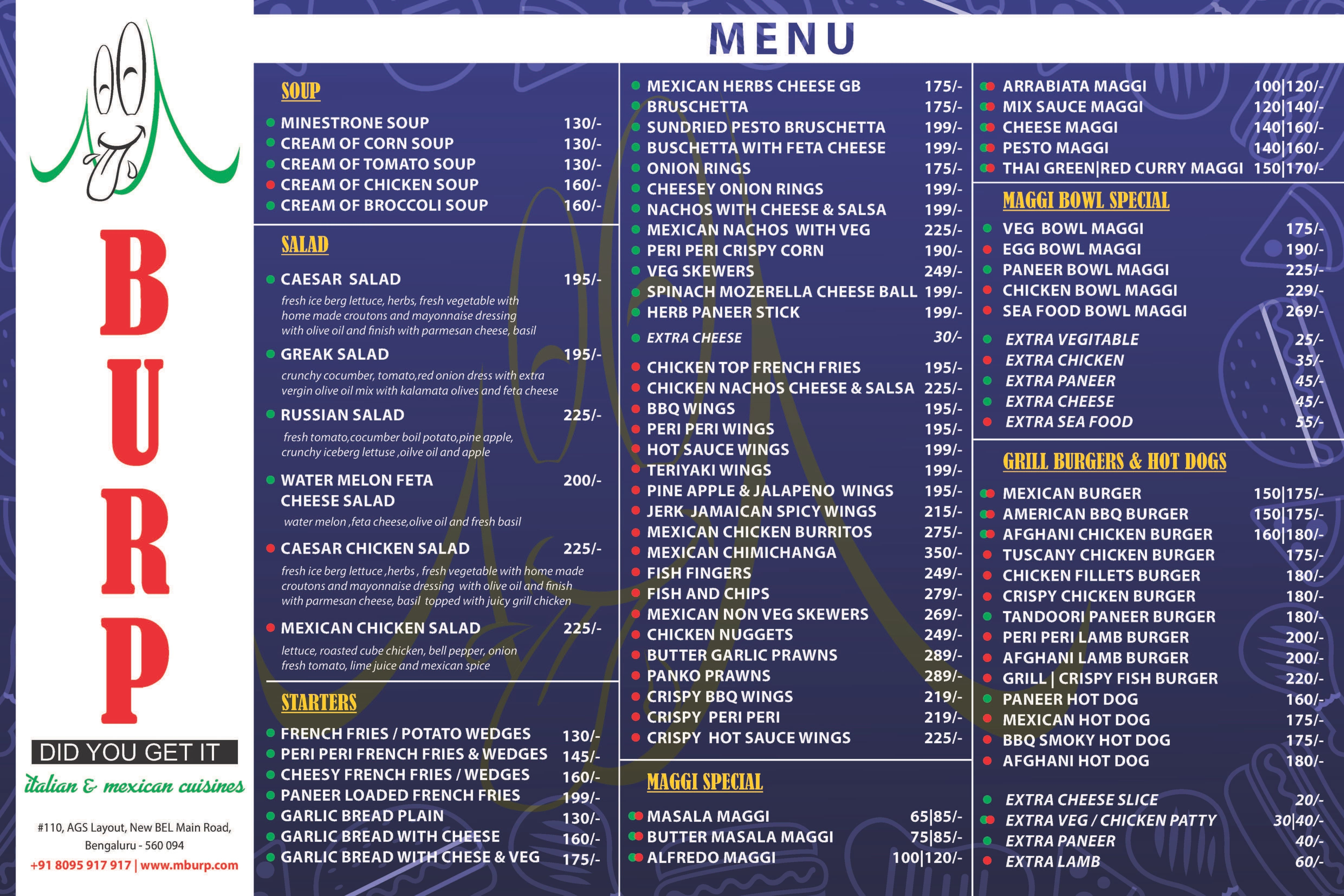 Burp Menu, Menu for Burp, New BEL Road, Bangalore - Zomato