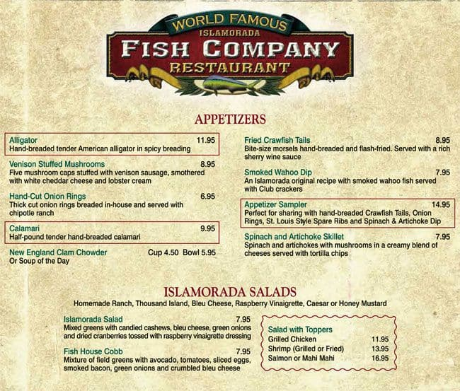 islamorada fish company menu menu for islamorada fish