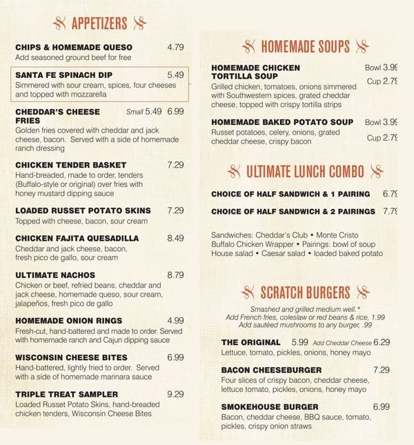 cheddars scratch kitchen greenville menu - Jack Allens Kitchen Menu