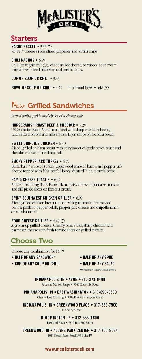 graphic about Mcalisters Deli Printable Menu called McAlisters Deli, Avon, Indianapolis - Urbanspoon/Zomato