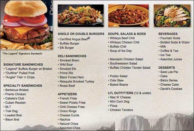 cabela's deli & grill menu - urbanspoon/zomato
