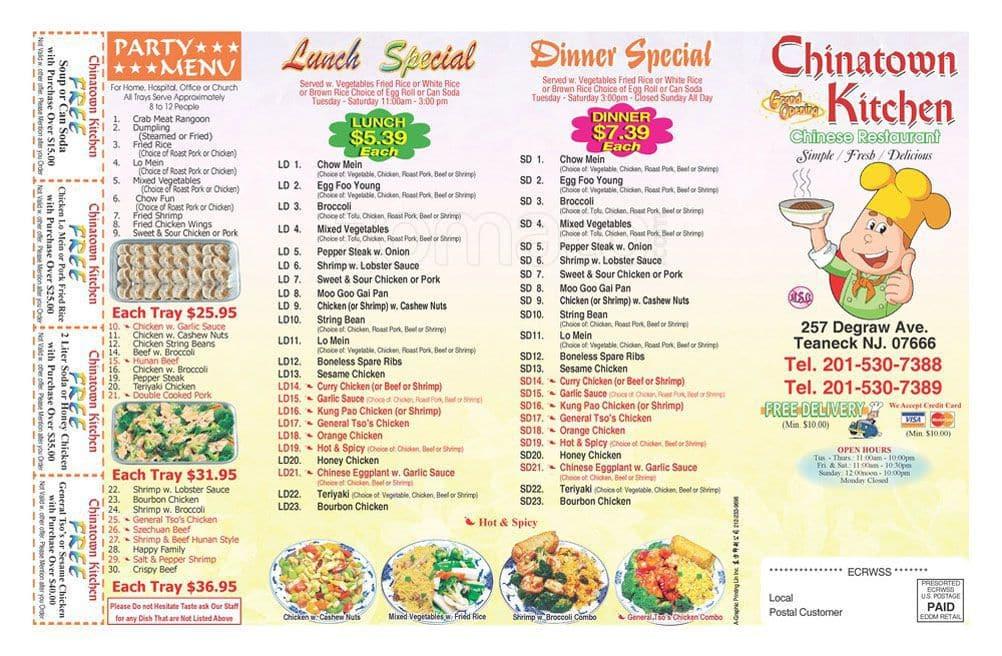 Chinatown Kitchen Menu Menu For Chinatown Kitchen Teaneck