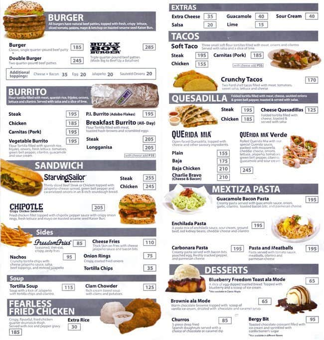 Army navy menu menu for army navy legaspi village for Terrace 33 makati menu