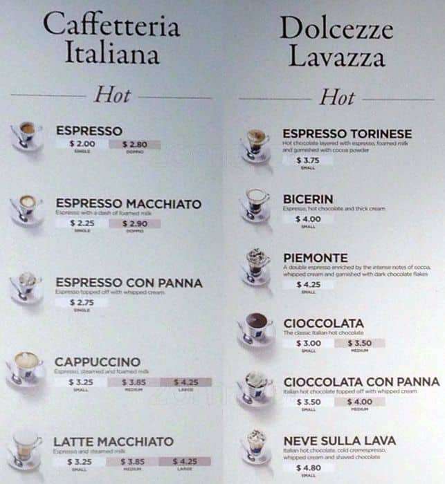 Lavazza Coffee Cafe Chicago Menu