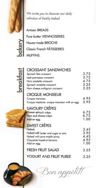Cafe Brioche Doree Menu