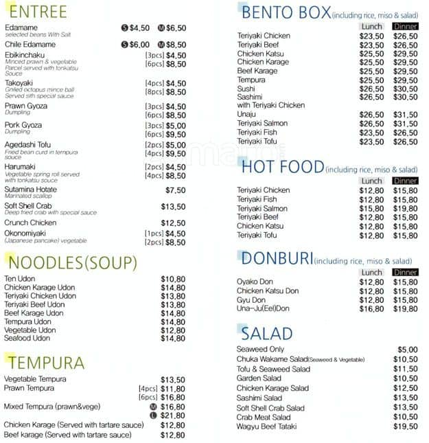 B F Japanese Restaurant Menu