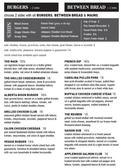 menu at state main restaurant calgary 601 8 ave sw. Black Bedroom Furniture Sets. Home Design Ideas