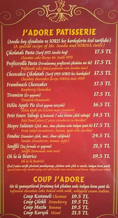 J\'adore Chocolatier a İstanbul: Foto del Menu con Prezzi - Zomato ...