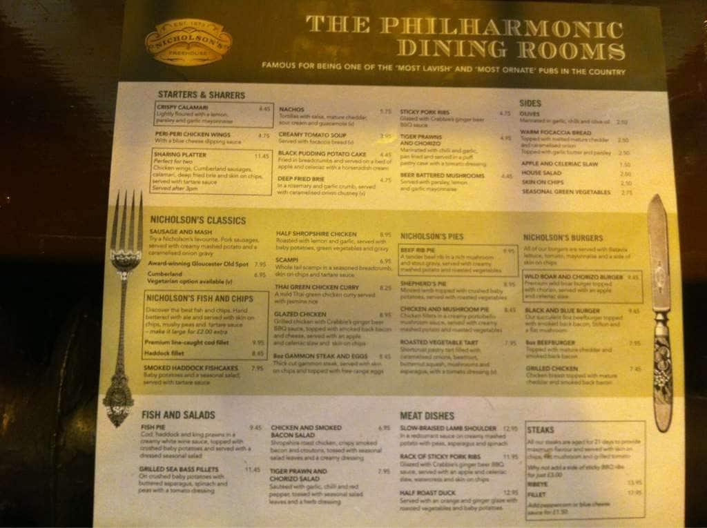 Philharmonic Dining Rooms Menu