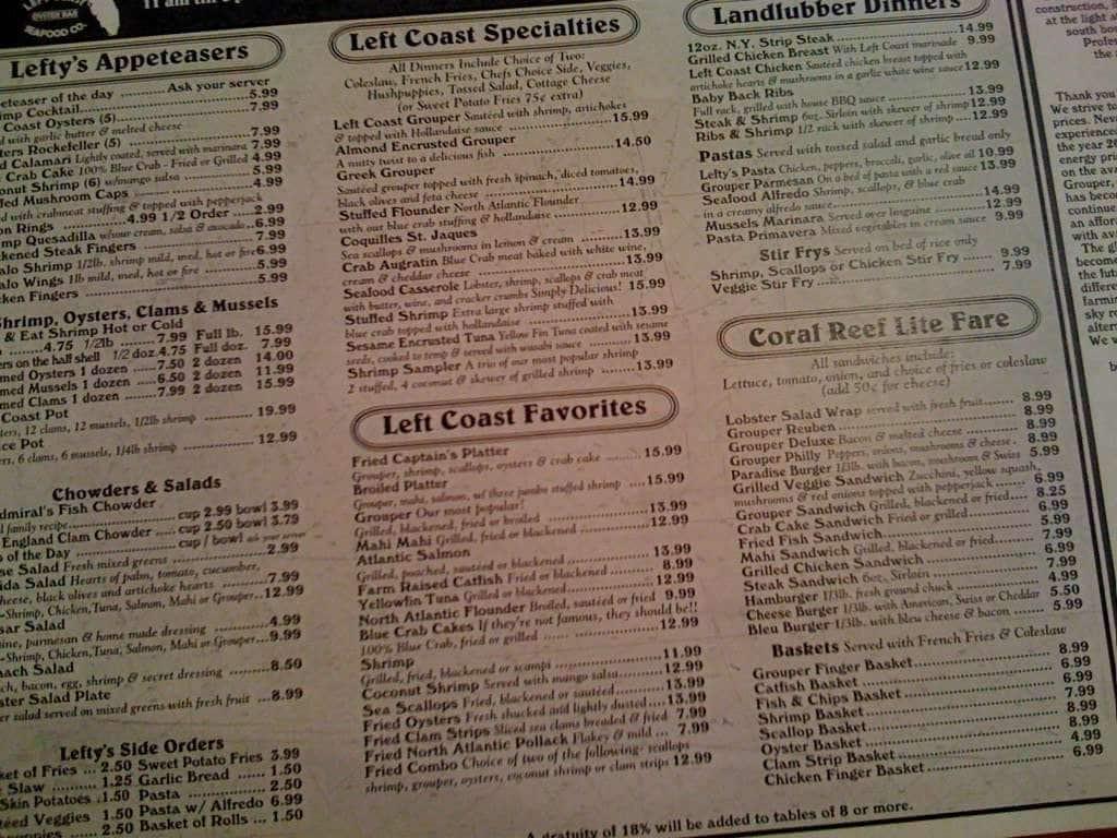 Menu at left coast seafood restaurant venice for Cedar reef fish camp menu