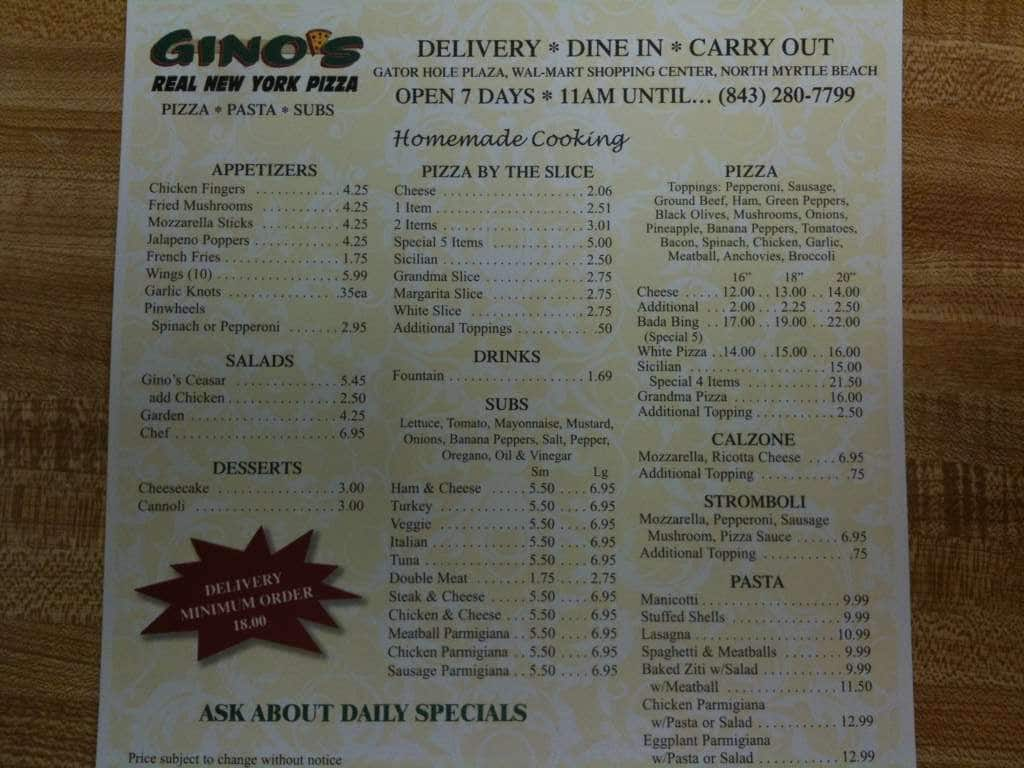 gino's ny style pizzeria menu - urbanspoon/zomato