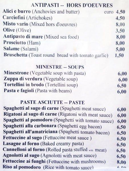 da dino a roma: foto del menu con prezzi - zomato italia - Ristoranti Cucina Romana