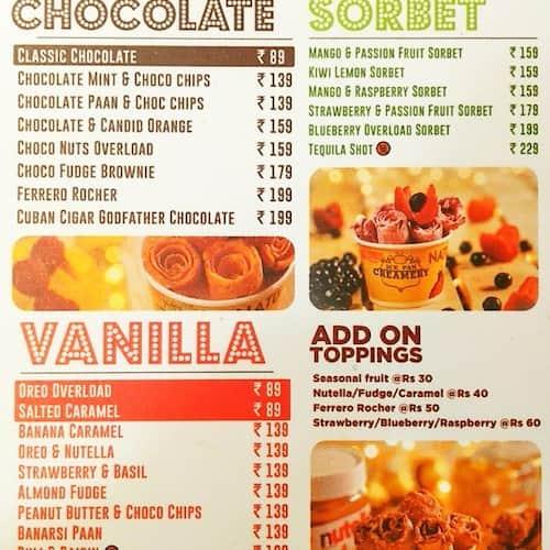 Ice Pan Creamery Menu, Menu for Ice Pan Creamery, Saket, New