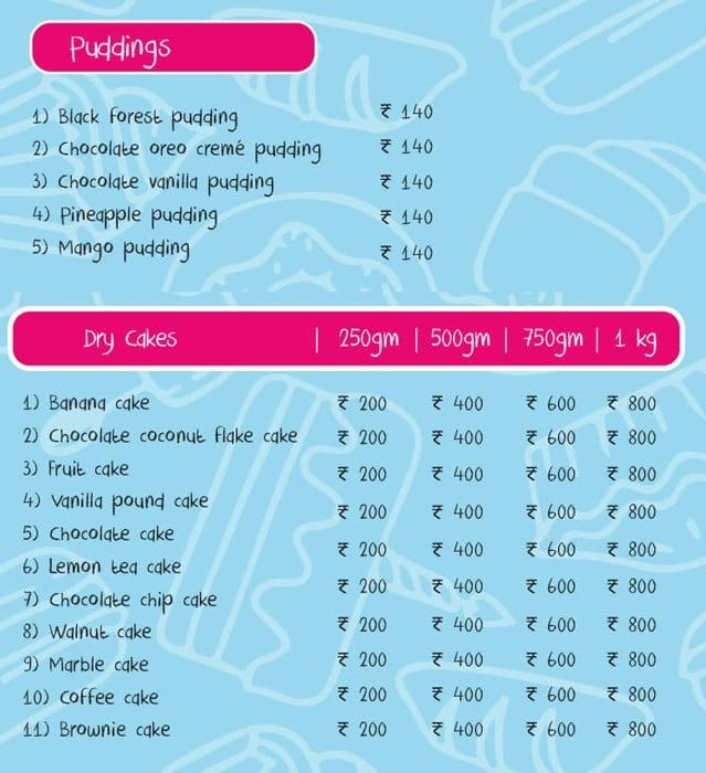 Blue Bow Bakery Rajouri Garden Menu