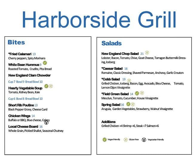 Scanned Menu For Harborside Grill And Patio