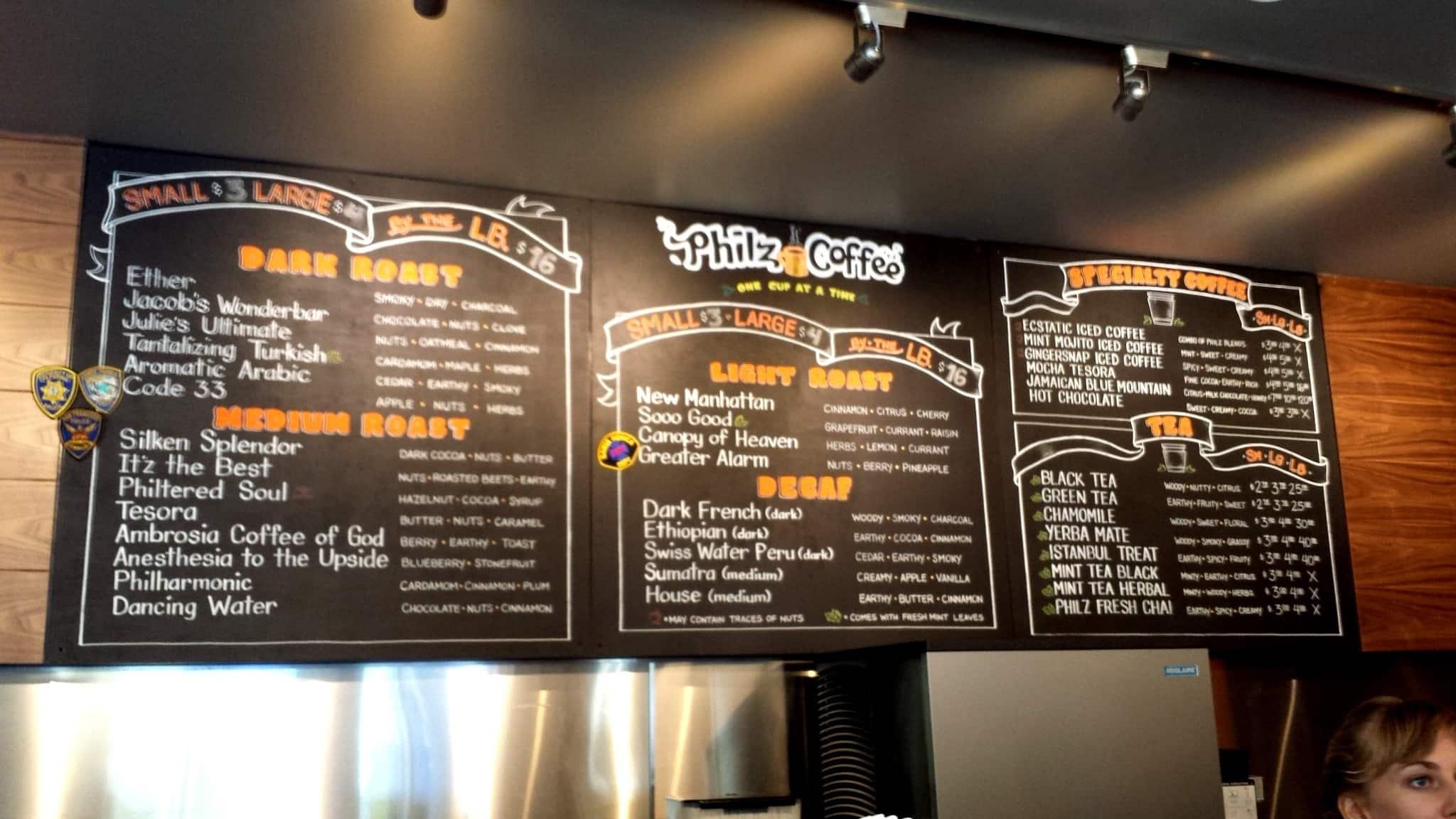 philz coffee menu, menu for philz coffee, downtown third street