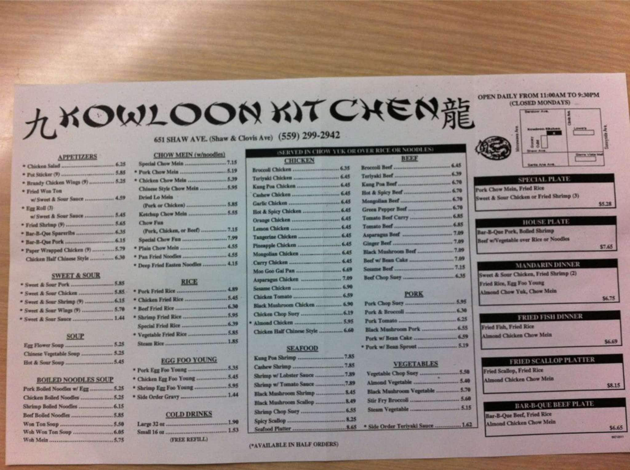 Menu at Kowloon kitchen restaurant, Clovis