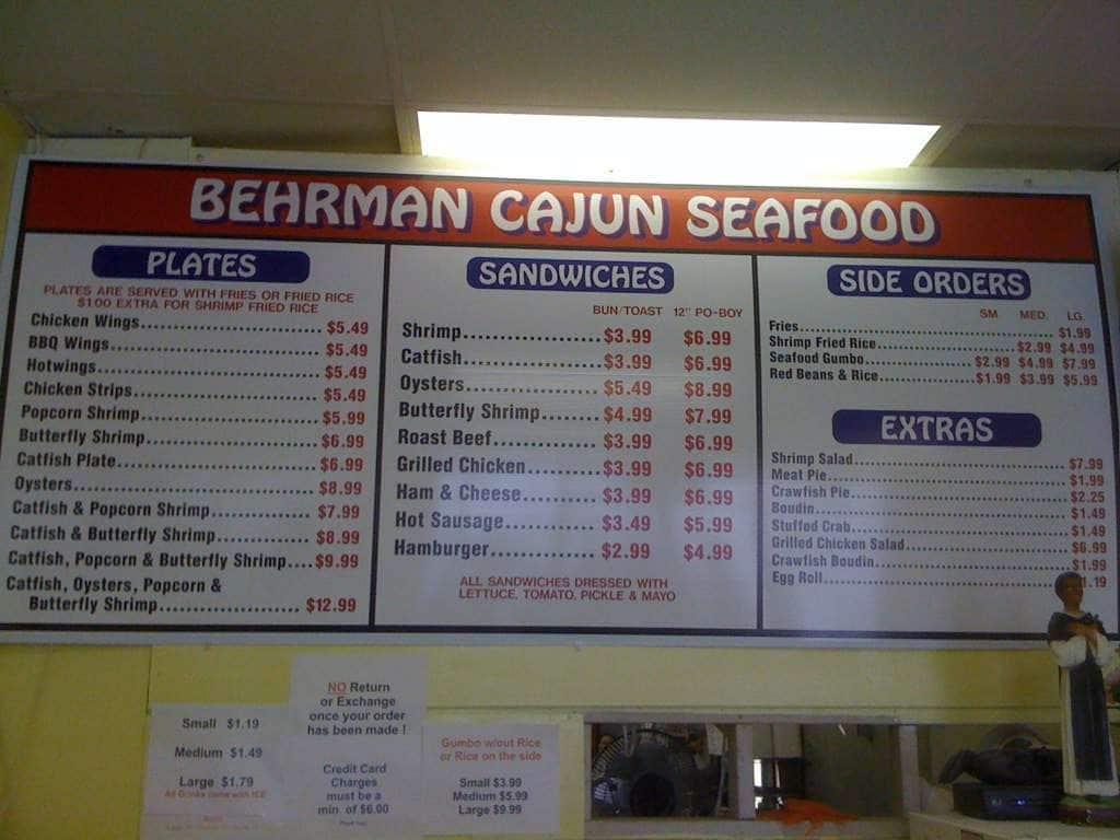 Berhman Cajun Seafood Menu Menu For Berhman Cajun Seafood