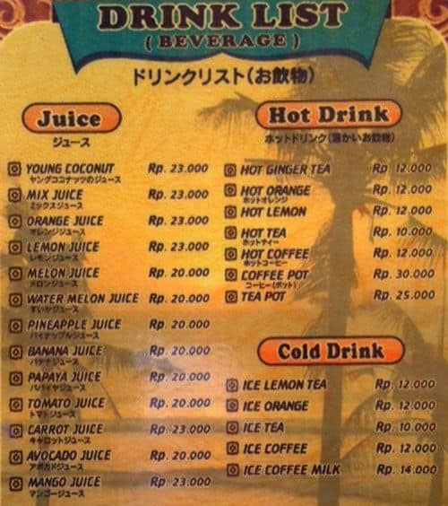 Sea Side Cafe Menu Menu For Sea Side Cafe Jimbaran Bali
