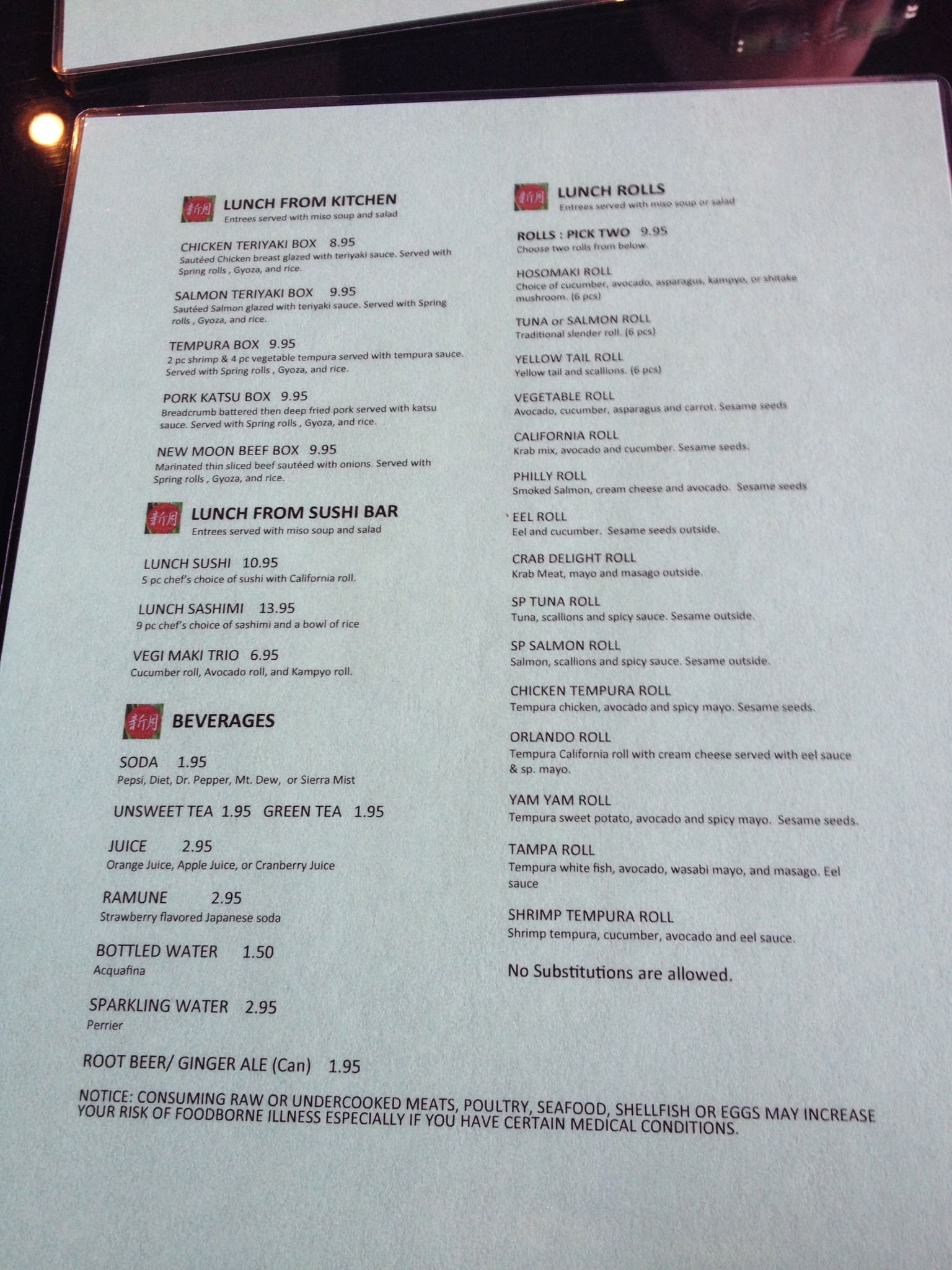 New Moon Sushi Menu, Menu for New Moon Sushi, Lakeland, Tampa Bay ...