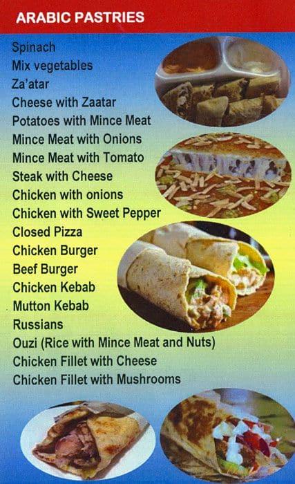 King Arabic Sandwiches Menu, Menu for King Arabic Sandwiches