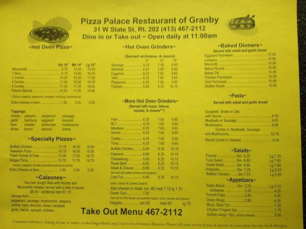 Pizza Palace Restaurant South Hadley South Hadley क