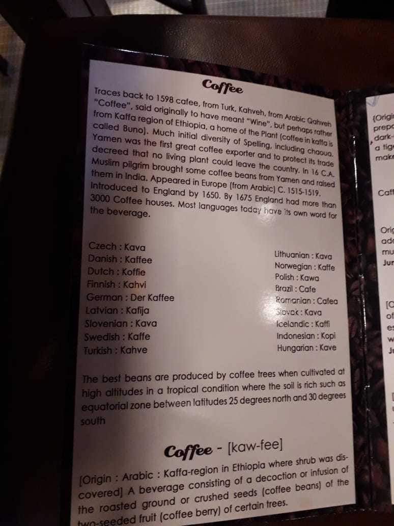 Brown Bean Cafe Restaurant Menu