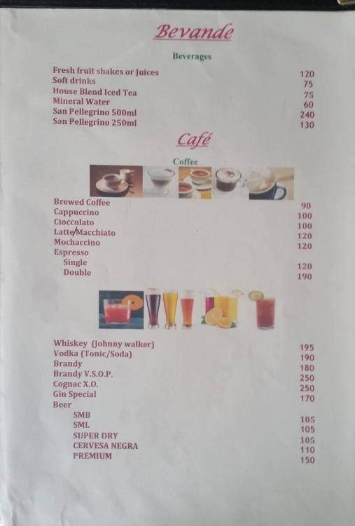 Cucina 105 menu