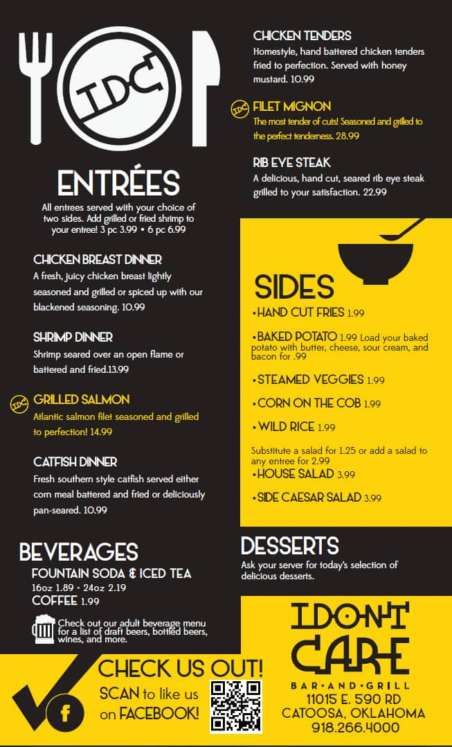 I don 39 t care bar and grill menu urbanspoon zomato for T s dining and lounge virden menu