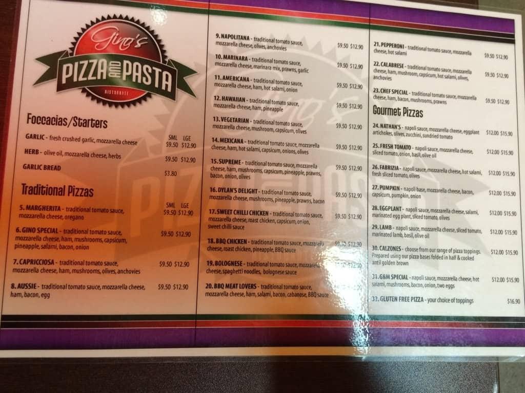 gino's pizza and pasta menu - urbanspoon/zomato