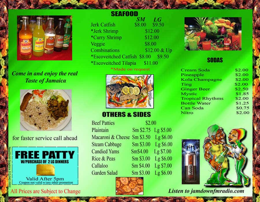 menu at jamaican gates restaurant chicago
